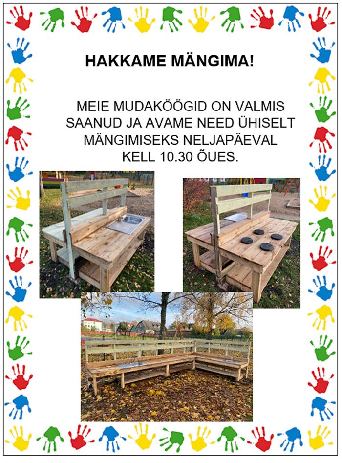 Lapsevanemad ehitasid Karksi-Nuia lasteaeda mudaköögid.